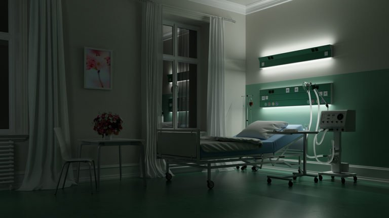 Empty Hospital at Bed Night