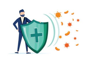 Immune system icon with plus sign shield warding off viruses